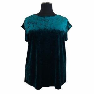 1X VINCE CAMUTO Green Crushed Velvet Top
